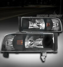 94-01 DODGE RAM PICKUP TRUCK CRYSTAL BLACK HEAD LIGHTS LAMP W/CORNER LEFT+RIGHT