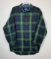 Pendleton Men's Large Cotton, Button-front Blue Green Yellow Plaid Shirt, EUC