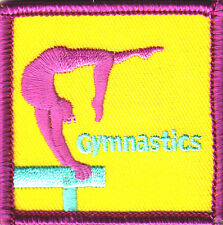 """/""""GYMNASTICS/"""" Iron On Embroidered Patch Sports Competition Gym Acrobatics"""