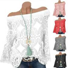 Womens Off Shoulder Long Sleeve Blouse Shirts Comfy Lace Pullover Top Plus Size