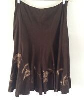M&S Per Una Skirt Floral Embroidered Flower Faux Suede Floaty Size 12 <R2566