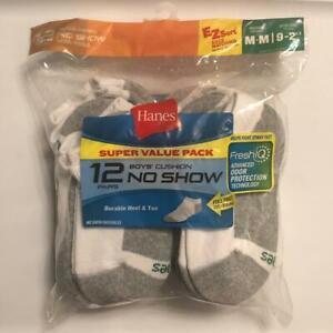 Hanes Boys 12-Pair No Show Cushion Socks, White, Size Medium (9-2.5)