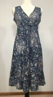 EDDIE BAUER Size 2 Sleeveless Dress V-Neck Blue 100% Cotton Lightweight Summer