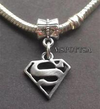 Superman Silver European Bracelet Charms Sliders Spacers Comic Superheroes