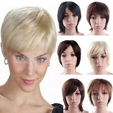 UK Pixie Neck Hugging Style Short Wig Straight Salon Cut Full Wigs Natural Look