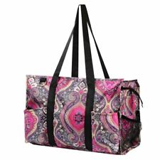 Utility All Purpose Shopping Travel Laundry Tote Bag Purple Paisley for Women