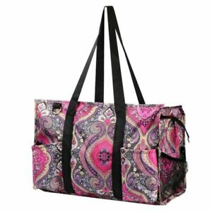 Wireframe Utility All Purpose Shopping Travel Laundry Tote Bag Purple Paisley