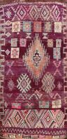 Antique Vegetable Dye Handmade Authentic Moroccan Berber Oriental Area Rug 7x13