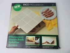 RARE Vintage Ekco MicroHelpers Microwave Oven Bacon Rack Splatter Screen #41012