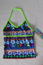 NEW Girls Tankini Top Swimsuit Size XS 4 - 5 Blue Green Floral Halter Top