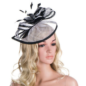 Handmade Women Sinamay Fascinator Headband Feather Hat Cocktail Party Show A268