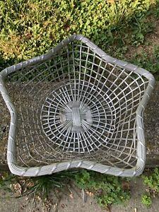 Vintage Aluminum Woven Metal~Star Design Basket~Christmas~India~Excellent~Boho