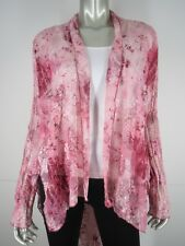 RAY HARRIS LONDON Pink Floral Sheer Crinkled Shawl Cape Top Blouse Cardigan L