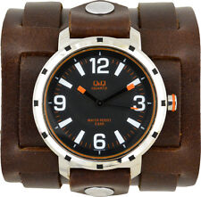 3 Strap Cuff Band Watch; Genuine Leather; Steampunk;  Handmade Made in USA