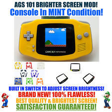 Nintendo Game Boy Advance GBA Yellow System AGS 101 Brighter Backlit Mod SWITCH!