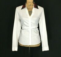 Tahari Large Top White Long Sl V Neck Fitted Pleat Shirt Black Red Plaid Collar