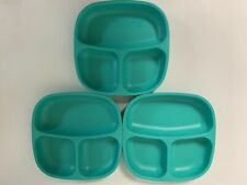 RePlay Recycled Toddler Divided Plate Dish Lot Of 3 Turquoise USA
