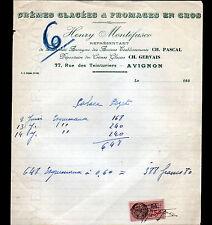 "AVIGNON (84) GLACES & FROMAGES / Ch. GERVAIS ""Henry MONTEFUSCO"" Période 1930"