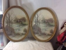 Vintage Homco Usa Gold Tone Oval Home on Water with Swan Picture pre-owned Nice