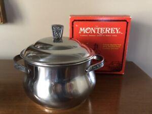 Monterey Server Pot, Holloware, NIB, Stainless Steel, w/ Lid, Vtg
