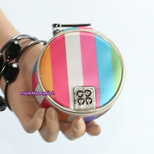NWT Coach Julia Stripe Round Jewelry Mirror Pouch Case Box F61657 Multicolor NEW