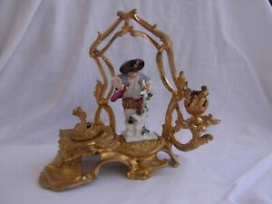 ANTIQUE FRENCH GILT BRONZE INKWELL WITH PORCELAIN FIGURE,19th CENTURY.