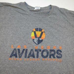 LAS VEGAS LV AVIATORS 51's MINOR LEAGUE BASEBALL TEE T SHIRT Sz Mens XL Gray