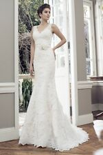 Size 8-10 Ivory Lace - Mia Solano A-line Wedding Dress - Dry Cleaned As New!!