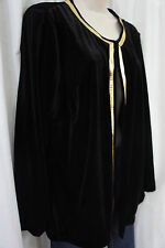 Elementz Sweater Sz S Black Gold Velvet Trim Long Sleeve Cocktail Dinner Jacket