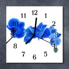 Glass Wall Clock Kitchen Clocks 30x30 cm silent Orchid Blue