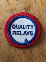 "Vtg Quality Relays Embroidered 3"" Sew On Patch Automotive Parts Badge Racing"