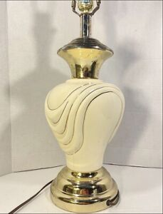 HOLLYWOOD Regency Style 1940s Large Fancy Table Lamp White Porcelain and Brass