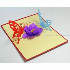 3D Flower & Butterfly Pop up Card, Valentine's Day Any Occasion 3D Pop Up Cards