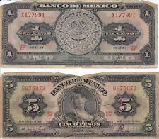 1954 Mexico 1 Peso and 5 Peso Banknotes