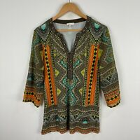W Lane Womens Top Small Multicoloured Boho 3/4 Sleeve Johnny Neck