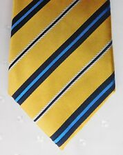 Blue and gold silk tie by Marks and Spencer diagonal woven stripes extra long
