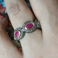 Diamond Pave 925 Sterling Silver Ruby Gemstone Wedding Band Ring Gift Jewelry