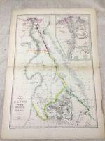 Antik Map Of Ägypten Nubien Abessinien Red Sea Alt Hand- Farbig 19th Jahrhundert