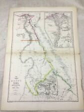 Antique Map of Egypt Nubia Abyssinia Red Sea Old Hand Coloured 19th Century