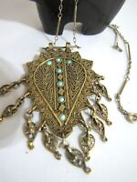 Antique Fringe Filigree Turquoise Necklace Gold Gilt Ornate Bar Loop Chain 24""