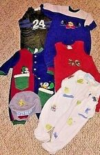 Lot of 6 Baby Boy Clothes 0-3 Months Sleepers Outfits Hat Winter Fall Spring