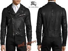 NWT BURBERRY Moto Biker Black Racer Mens Lamb LEATHER Jacket LARGE L $2800