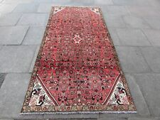 Vintage Hand Made Traditional Oriental Wool Pink Red Long Large Rug 264x129cm