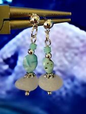 Natural larimar bead and sea glass stones stud earrings