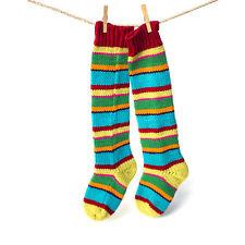 Handgestrickte Kniestrümpfe aus 100% Merino Wolle bunt geringelt, Socken
