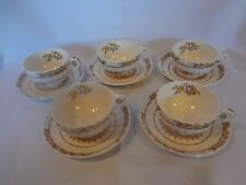 Spode China - Buttercup - Five Cups and Saucers (with modern backstamp)