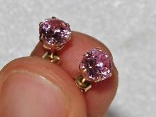 9ct Gold 1.50CT Pink Topaz Ladies Single Stone Stud Earrings -