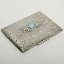VINTAGE 800 SILVER & TURQUOISE CABOCHON COMPACT