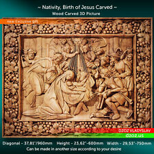 "38"" Nativity, Birth of Jesus Carved Wood 3D The bible  icon orthodox picture"