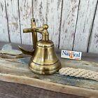 Anchor Ship Bell w/ Rope Lanyard - Antique Brass Finish -Nautical Wall Decor